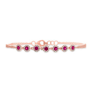Womens 0.73CT 14k Rose Gold Natural 7 Stone Round Ruby Gemstone Diamond Bracelet