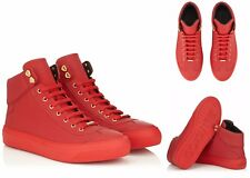 BNIB JIMMY CHOO ARGYLE RED HI TOP LEATHER TRAINERS SNEAKERS SHOES UK 10 - EUR 44