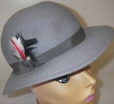Vintage 1950s Women's Hat Wool Doeskin Felt Gray Bollman Brimmed Ribbon Feather