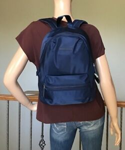 Tommy Hilfiger Navy Nylon Back To School Padded Laptop Sleeve Backpack NWT 108$
