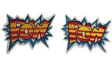 Comic Book Super Hero Double Pow Sound Effect Bubble Action 2 Patch Set