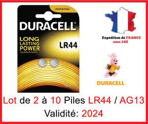 Lot de 2 à 10 Pile LR-44 / AG13 / A76  DURACELL Bouton Alcaline 1,5V DLC 2025