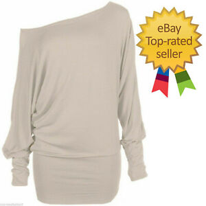 NEW LADIES BATWING TOP LONG SLEEVES OFF SHOULDER BAGGY SLOUCH PLUS SIZE