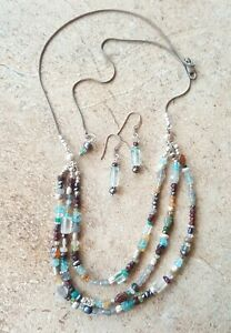 Gemstone Pearl Labradorite Sterling Silver 3 Strand Necklace Earrings Sundance