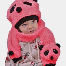 Cute Baby/Toddler Cosy Panda Hat & Scarf Set (deep pink)