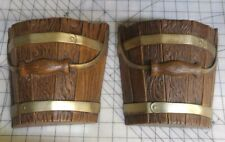 """Matching Pair of Plastic """"Wooden Barrel"""" Wall Pockets - Burwood Products"""