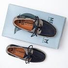 Mephisto Boating Navy Blue & Grey Nubuck Boat Shoes - Men's 7 M