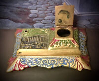 BRASS ART NOUVEAU NEOCLASSICAL DESK PEN INK WELL INKWELL SET ~ PROBABLY 1930S