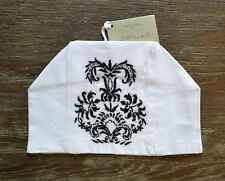 Hand Embroidered Victorian Pattern White & Black Boutique Tissue Box Cover