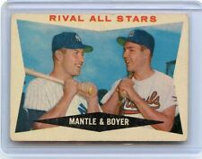 """1960 TOPPS #160 MICKEY MANTLE & KEN BOYER """"RIVAL ALL STARS"""", YANKEES, CARDINALS"""