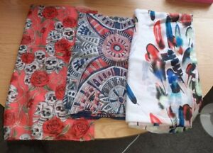Bundle Of 3 Lightweight Scarfs, Skull With Roses, Geometric And Feather Print