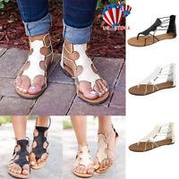Ladies Womens Gladiator Sandals Summer Holiday Flat Beach Flip Flops Zip Shoes
