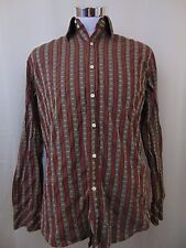 Dragonfly Men's Cotton Striped Button Down Dress Shirt Brown/Green Medium #1542