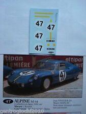 1/43 F1 DECALS CAR ALPINE RENAULT M64 LE MANS 1964 n. 47 driver VINATIER