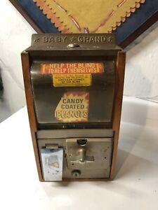 VICTOR 5 STAR BABY GRAND GUMBALL MACHINE, 5 CENT, 1950'S ORIGINAL OAK WOOD