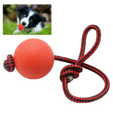 Indestructible Dog Chew Toys Solid Ball Interactive Bite Play with Rope Leash