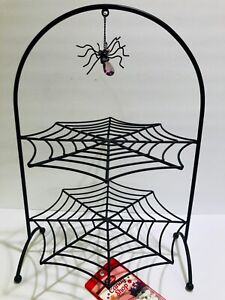 Halloween Spider Web Cupcake Stand W/Spider Two Tiers w/Cake Decorations