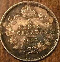 1907 CANADA SILVER 5 CENTS COIN
