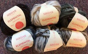 5 x 50g Sirdar Elemental Super Chunky Wool/Yarn for Knitting/Crochet + Pattern