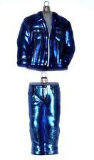 50'S FASHION JAMES DEAN CLOTHING 2 PC SET BLUE JEANS DENIM JACKET GLASS ORNAMENT