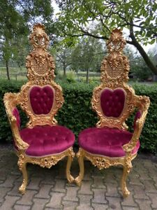 Italian Chairs Fantasy in Gold and Ruby Red Newly Made- a Pair