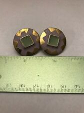 Gold Toned & Pink Inlay Odd Free Square Pair Of Earrings- Free Shipping