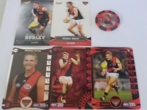 Teamcoach & Select Essendon Micheal Hurley Cards x5 [inc silver] & Topps Chipz
