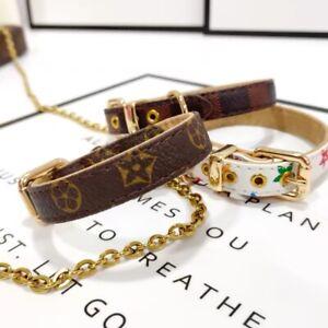 Four leaf clover dog chain collar leather like fashion