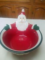 Pfaltzgraff Winterberry Santa Serving Bowl EUC