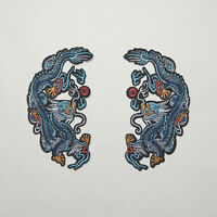1Pair Embroidered Dragon Patch Sew on Iron on Applique Clothing DIY Badge Decor