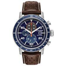 Citizen Brycen Men's Blue Dial Brown Leather Strap Watch CA0648-09L