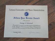 vintage 1965 NASA 15 year Employee Service Award Certificate Document