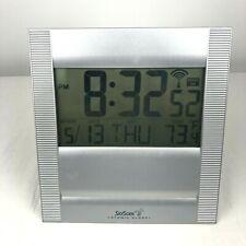 SkyScan Atomic Clock Silver Time Date Day Temperature Auto-Set Model 86709R VGC!