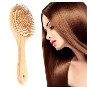 Natural Wooden Paddle Hair Brush with Air Cushion Combs for Scalp Massage New