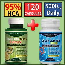 120 PILLS GARCINIA CAMBOGIA PILLS 95% HCA + COLON CLEANSE WEIGHT LOSS DIET PILLS