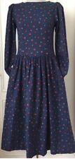 Laura Ashley Vintage Cotton/Wool Blend Ditsy Floral Dress Size 12