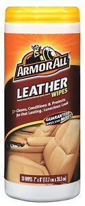 Armor All 20 LEATHER CARE WIPES Clean Condition Protect Lasting Luxurious Look