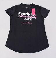 Active Faith Women's FWM EasyDri Short Sleeve Shirt EW9 Black Small NWT