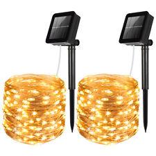 2*10m Waterproof 100 LED Solar Fairy String Strip Light Garden Xmas Party Decor