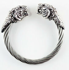 Double Tiger Head Sterling Silver Bracelet