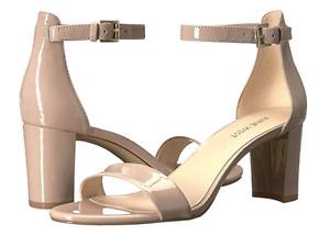NINE WEST Block Heel Ankle Strap Open Toe Sandals Beige Patent Leather Size 9.5