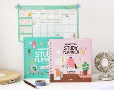 1Ea Mint Pink Indigo For 1 Year Monster Study Planner semester diary planner