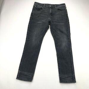 American Eagle Mens Next Level Flex Black Wash Slim Straight Jeans 33x30
