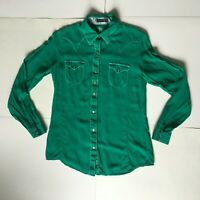 Rock 47 by Wrangler Womens S Green Pearl Snap Long Sleeve Western Rodeo Shirt