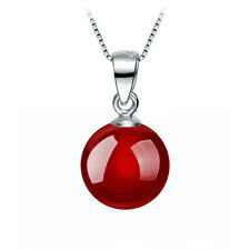 Natural Agate Carnelian Pendant Necklace Wild Retro Jewelry 8MM Silver Plated