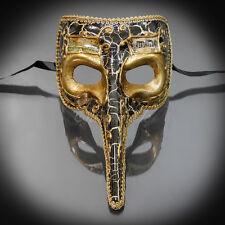 Medieval Plague Doctor Venetian Masquerade Mask for Men - Black/Gold (M7461)