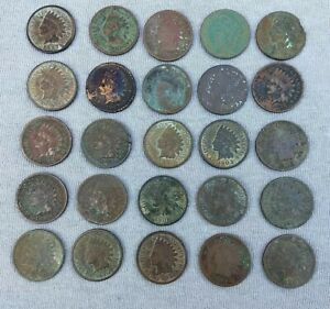 25 Indian Head Cent Penny Lot Readable Date Ag Cull Coins Junk Drawer Estate