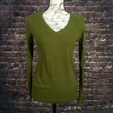 Mossimo Women's MEDIUM Long Sleeve Pullover V Neck GREEN Knit Sweater Top