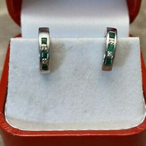 """14K White Gold Diamond/Emerald Baby Girl Children Hoops Huggie Earring 3G 0,5""""D"""