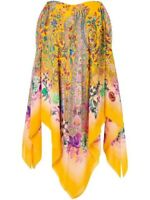 Etro Yellow Silk Pailsey Patterened Top Poncho Style Blouse Cokd Shoulder